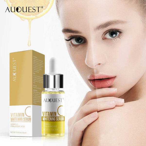 AUQUEST Vitamin C Whitening Face Serum Anti Wrinkle Shrink Pore Moisturizing Serum Facial Skin Essence Dry SkinCare 15ml