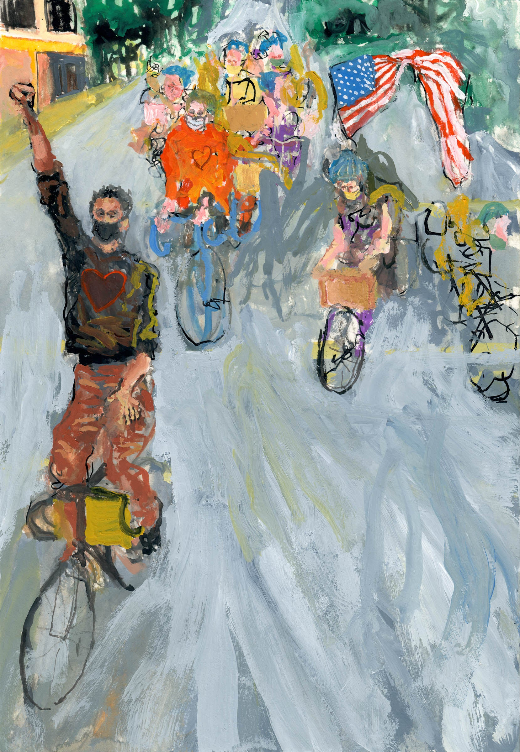 Monumental Bike Protest Painting Study 2 - No Hands - Original