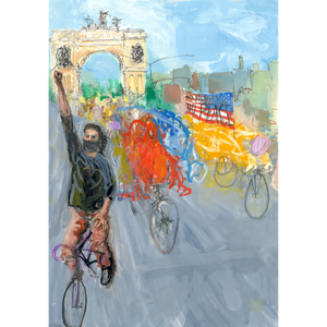 Monumental Bike Protest Painting - Diptych - No Hands Original