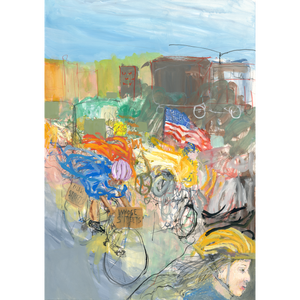 Monumental Bike Protest Painting - Diptych - No Hands