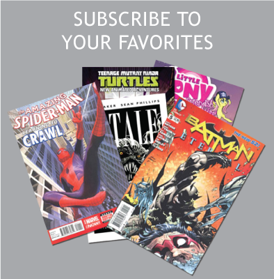 various comic book titles sprawled: Subscribe to your favorites