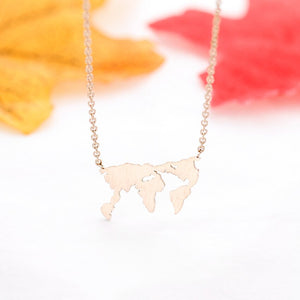 Geometric Globe World Map Charm Necklace