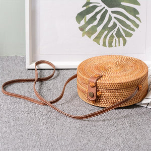 Bali Handmade Rattan Crossbody Leather Purse