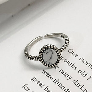 Adjustable Marbled Stone Ring