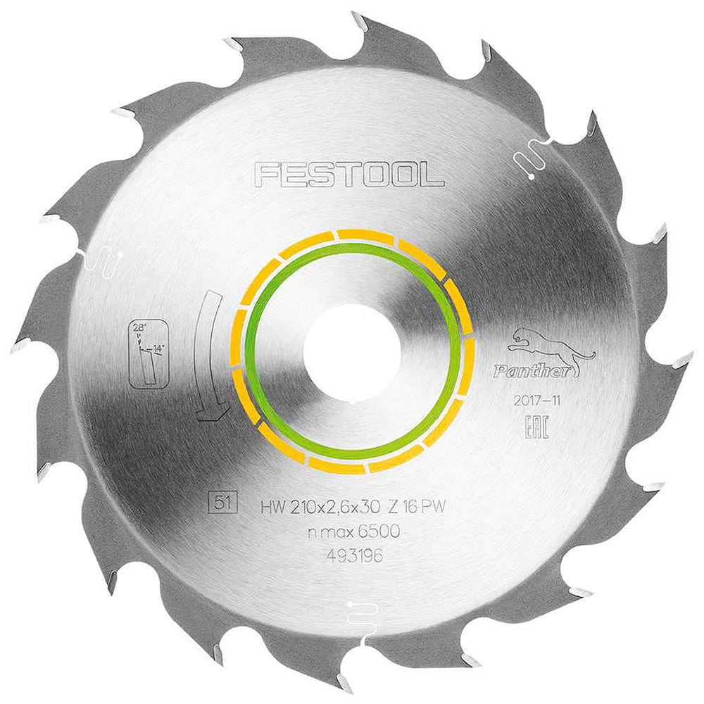 Festool Panther Saw Blade 210mm x 30mm 16T PW16 For Plunge Saw 493196