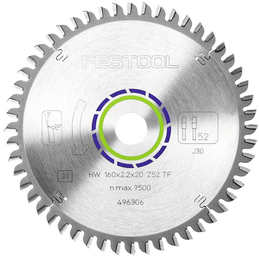 Festool Aluminium Saw Blade 160 x 20mm 52T TF52 For TS55 Saw 496306