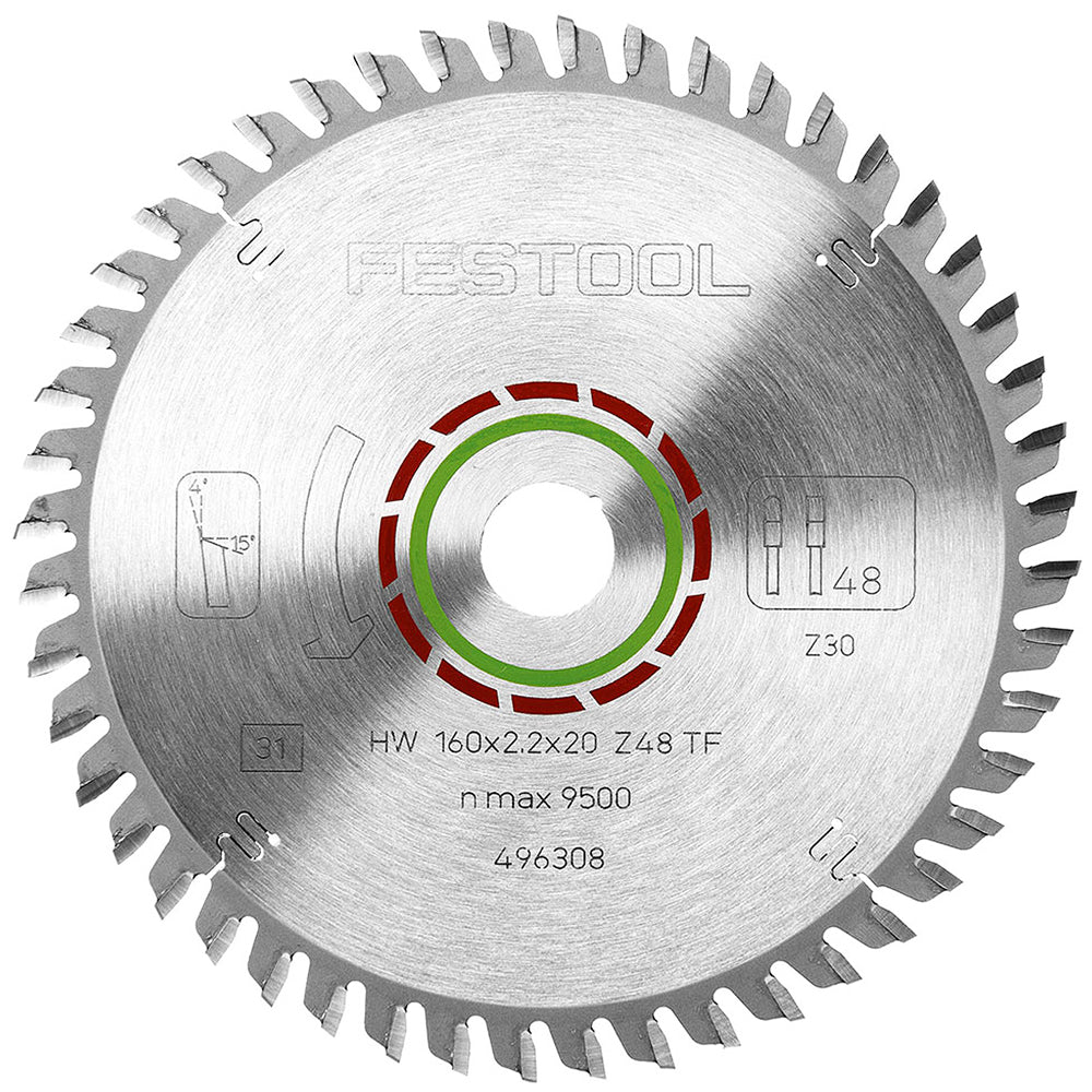 Festool Laminate Corian Saw Blade 160 x 20mm 48T TF48 for TS55 496308