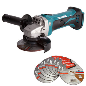 Makita DGA452Z 18V Li-ion 115mm Angle Grinder with 10 Piece Metal Cutting Discs