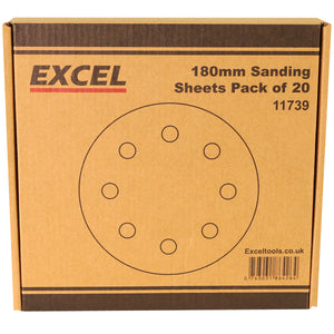 Excel 180mm Sanding Sheet Pack of 20 Piece