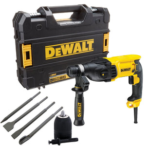 Dewalt D25133K 110V SDS+ Hammer Drill 26mm & 4 Piece Chisel Set + Keyless Chuck