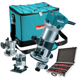 "Makita RT0700CX2 Router/Trimmer & Bases 110V with 1/4"" 35 Piece Cutter Set"