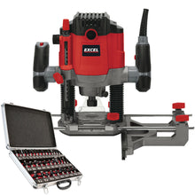 "Load image into Gallery viewer, Excel 1/2"" Electric Plunge Router Variable Speed 240V with 35 Piece Cutter Set"