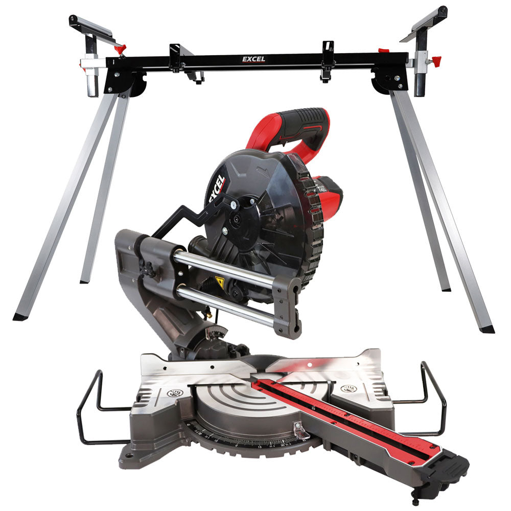 Excel 216mm Mitre Saw 240V Large Base Laser 1500W with Leg Stand