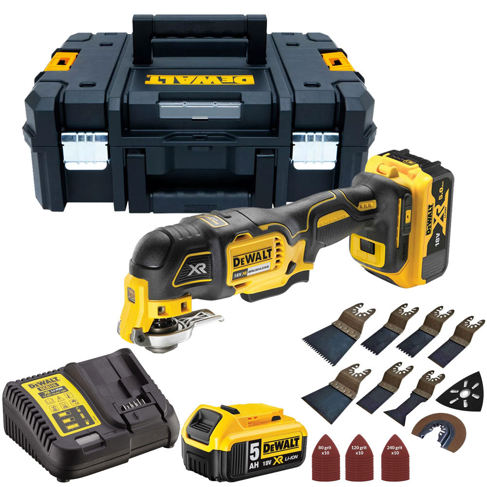 Dewalt DCS356N 18V Brushless MultiTool 2 x 5.0Ah with 39 Piece Accessories Set