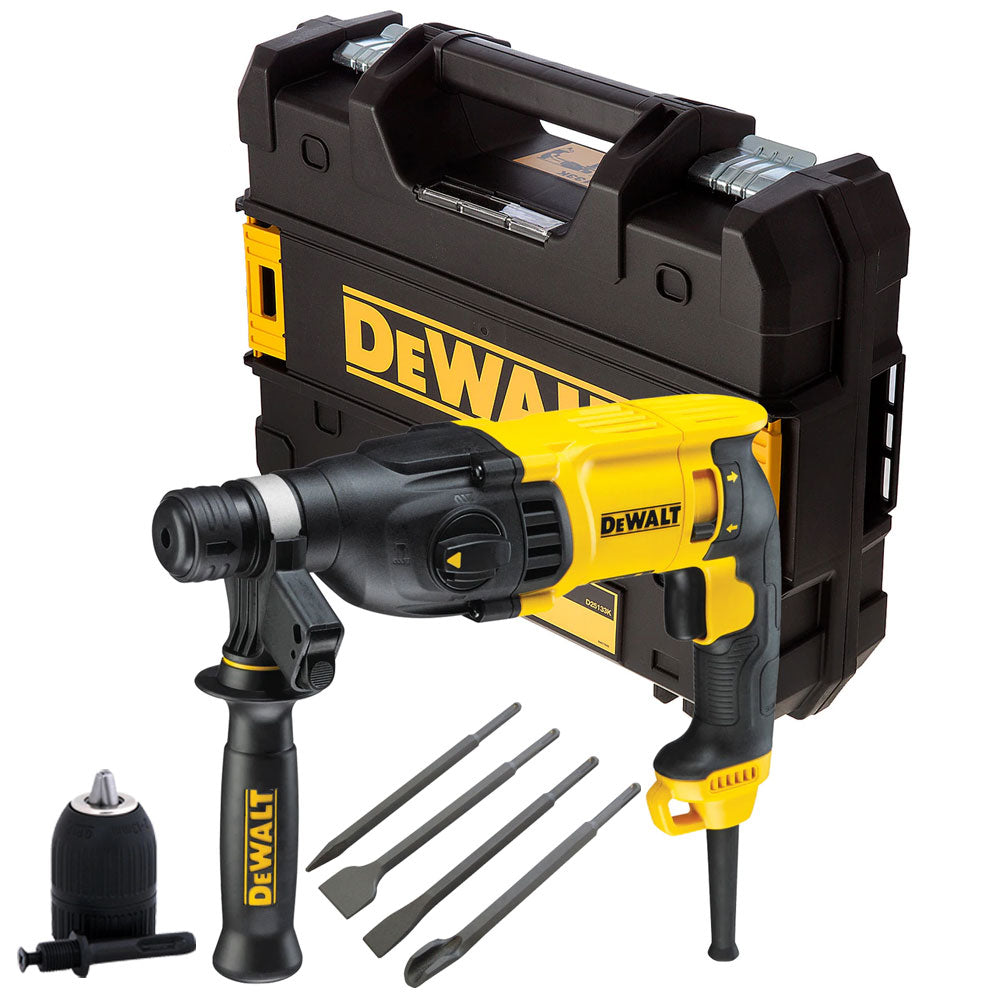 Dewalt D25133K 3 Mode SDS+ Rotary Hammer 240V with 4 Piece Chisel Set + Keyless Chuck