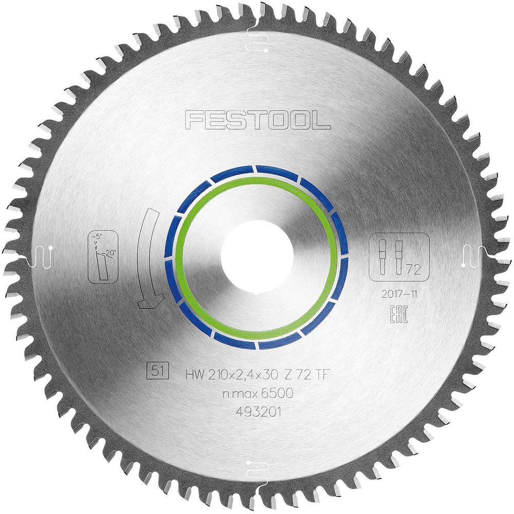 Festool Special Plunge Saw Blade 210mm x 30mm 72T TF72 493201
