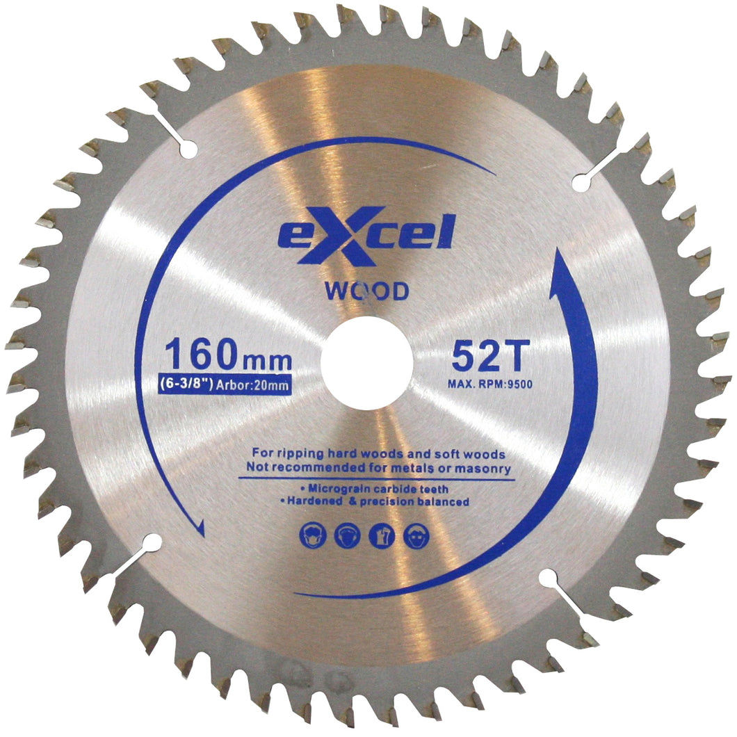 Excel Plunge Saw Blade 160MM 52 Tooth for Wood
