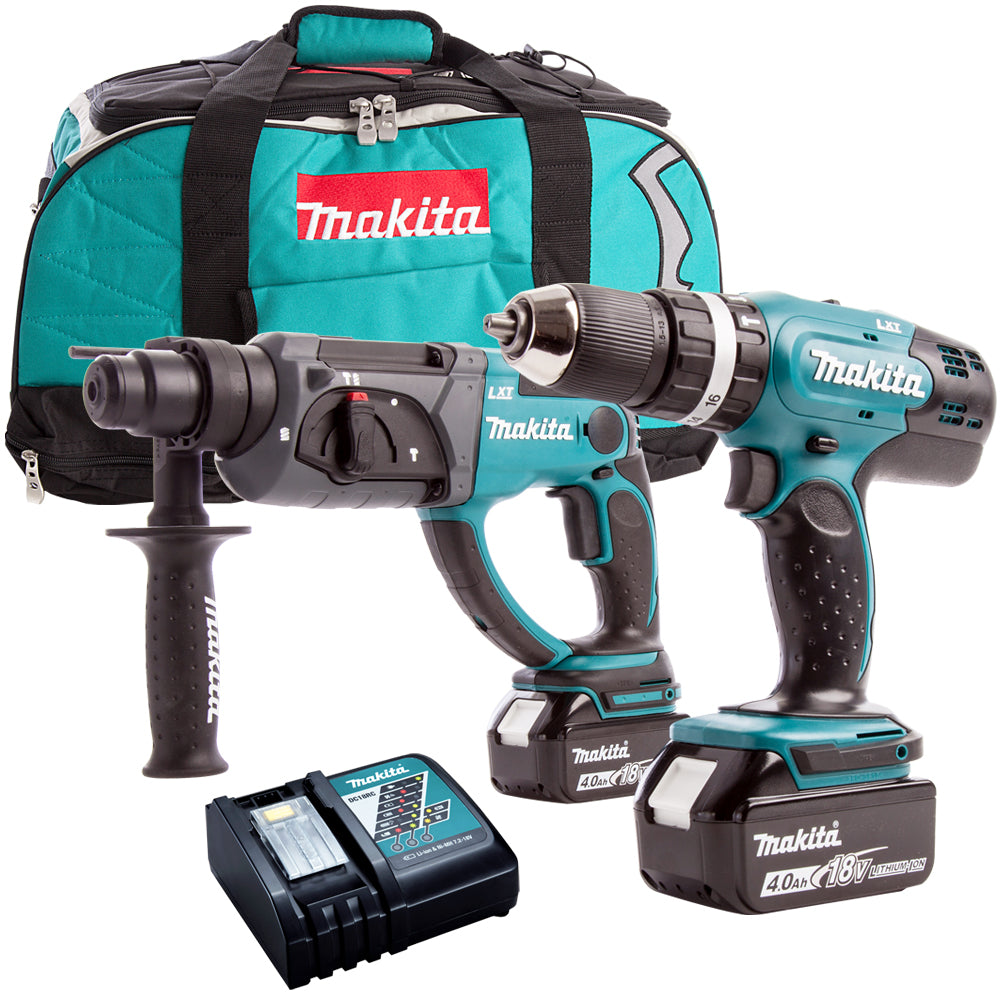 Makita DLX2025M 18V Combi Drill + SDS Drill Twin Pack with 2 x 4.0Ah Batteries & Charger in Bag