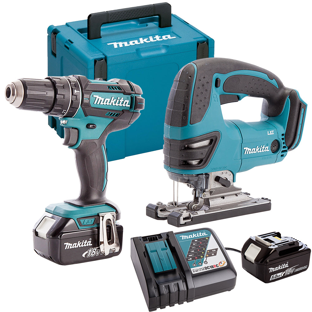 Makita DLX2134TJ 18V Combi Drill & Jigsaw Twin Pack with 2 x 5.0Ah Batteries & Charger in Case