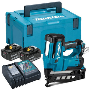Makita DBN600RTJ 18V 16Ga Finish Nailer with 2x5.0Ah Batteries charges & Case