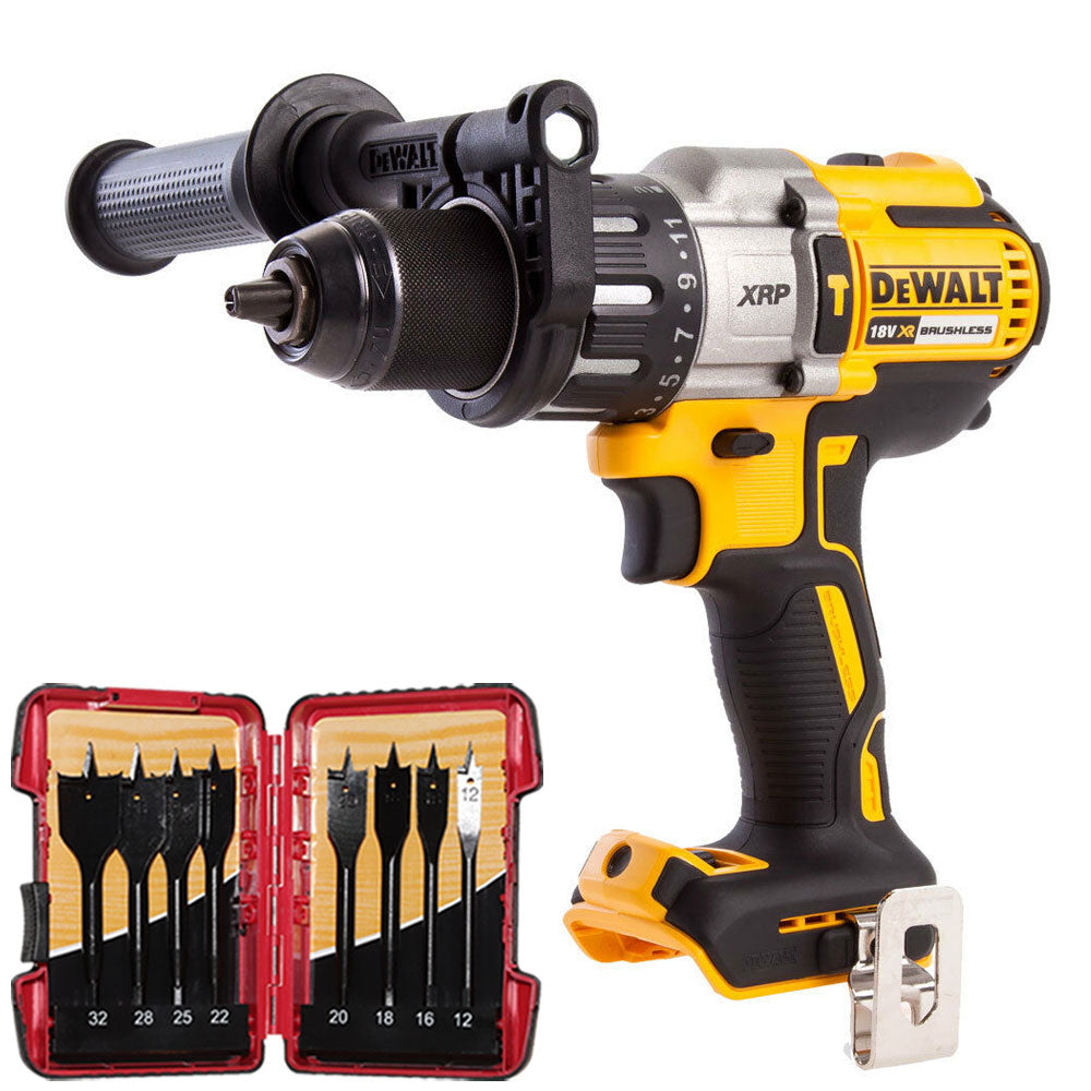 Dewalt DCD996N 18V Brushless Combi Hammer Drill with 8 Piece Flat Drill Bit Set