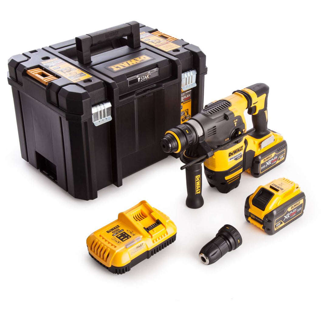Dewalt DCH334X2 54V XR FLEXVOLT Brushless SDS Rotary Hammer in TSTAK Box with 2 x 9.0Ah Batteries & Charger