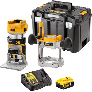 DeWalt DCW604NT 18V Brushless Router Trimmer with 1 x 5.0Ah Battery & Charger in Case