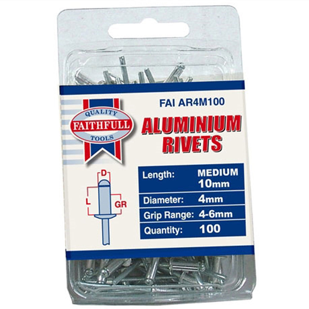 Faithfull Aluminium Rivets 4mm Medium (Pack of 100) FAIAR4M100