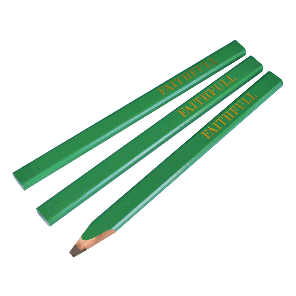 Faithfull Carpenters Pencils Green / Hard FAICPG Pack of 3