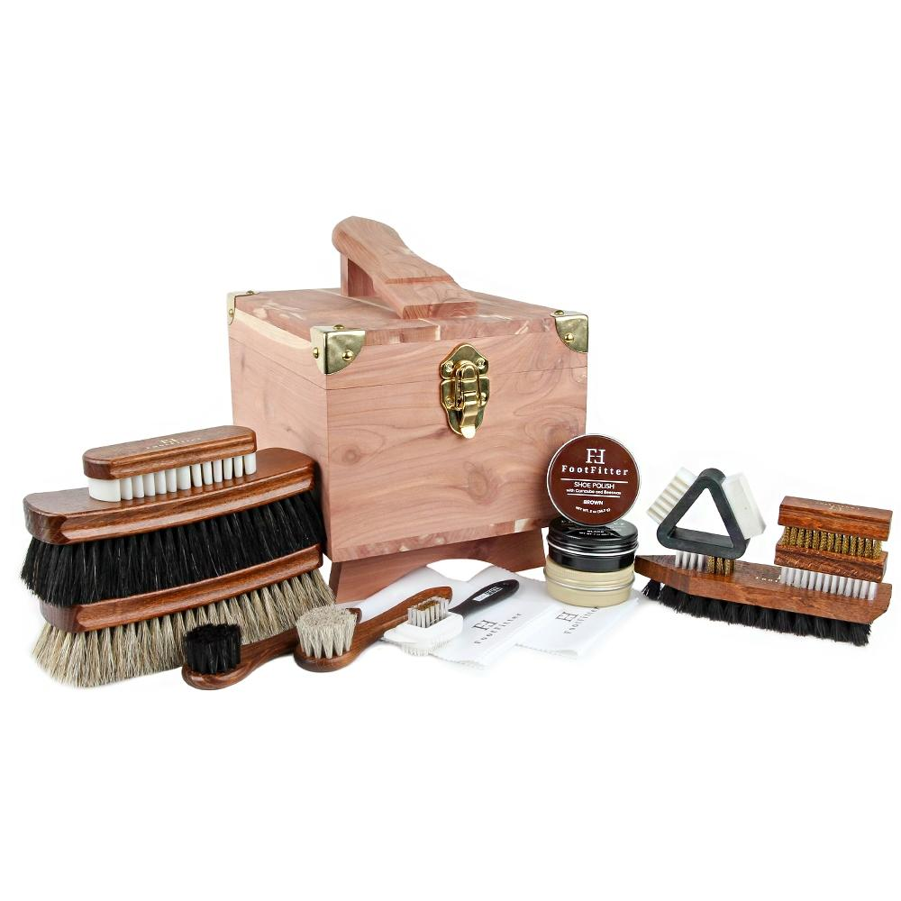 FootFitter Grand Cedar Shoe Shine Valet Set with Shoe Polish FootFitter