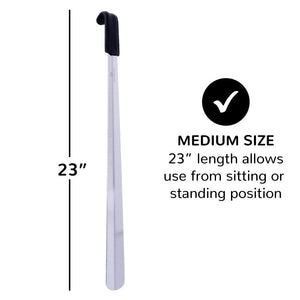 "FootFitter Medium Stainless Steel & Leather Shoe Horn, 23"" FootFitter"