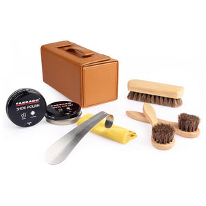 Tarrago Travel Shoe Shine Kit, Brown Case FootFitter