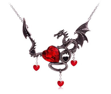 collier coeur dragon
