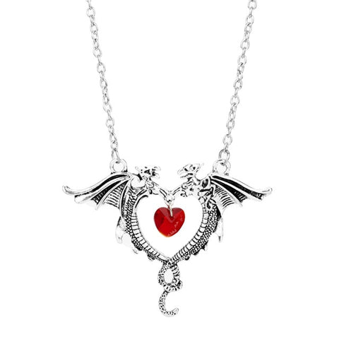 collier coeur rouge dragon