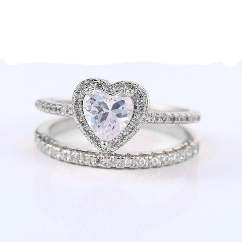 Bague coeur or blanc diamand