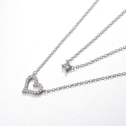 collier coeur argent multirang