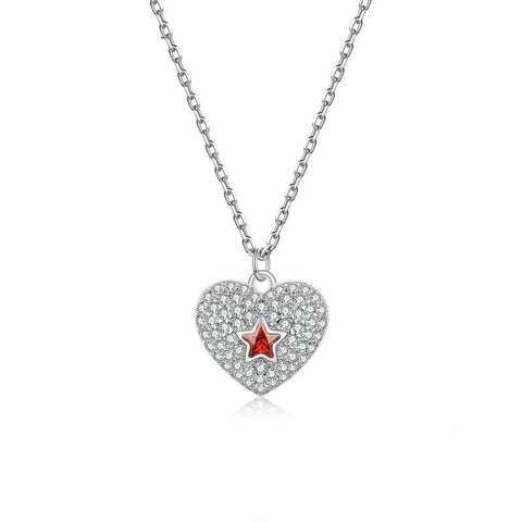 Collier Coeur etoile rouge