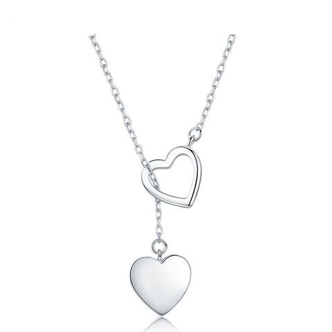 Collier coeur argent duo
