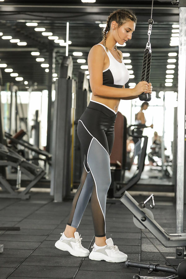 Women's Color Block Sport Bra Tights Set - Tala Dress Store