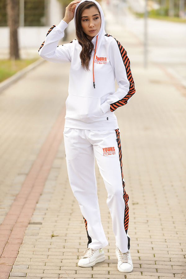 Women's Hooded Printed White Training Suit - Tala Dress Store