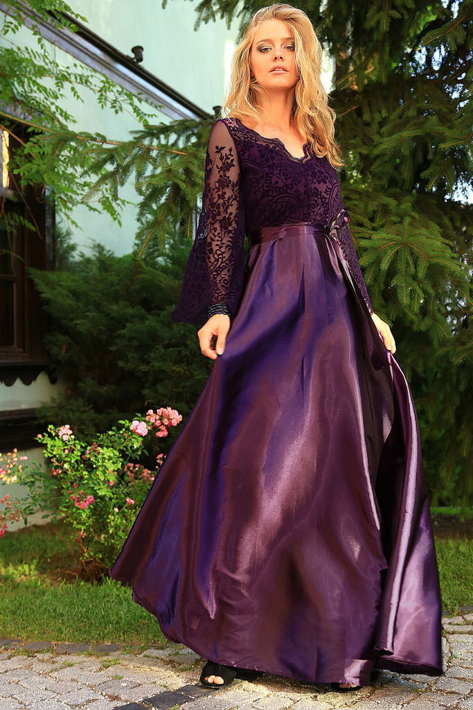 Women's Lace Top Purple Evening Dress - Tasamimi Store