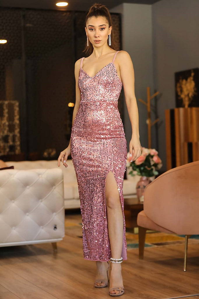 Women's Slit Sequin Powder Rose Long Evening Dress - Tasamimi Store