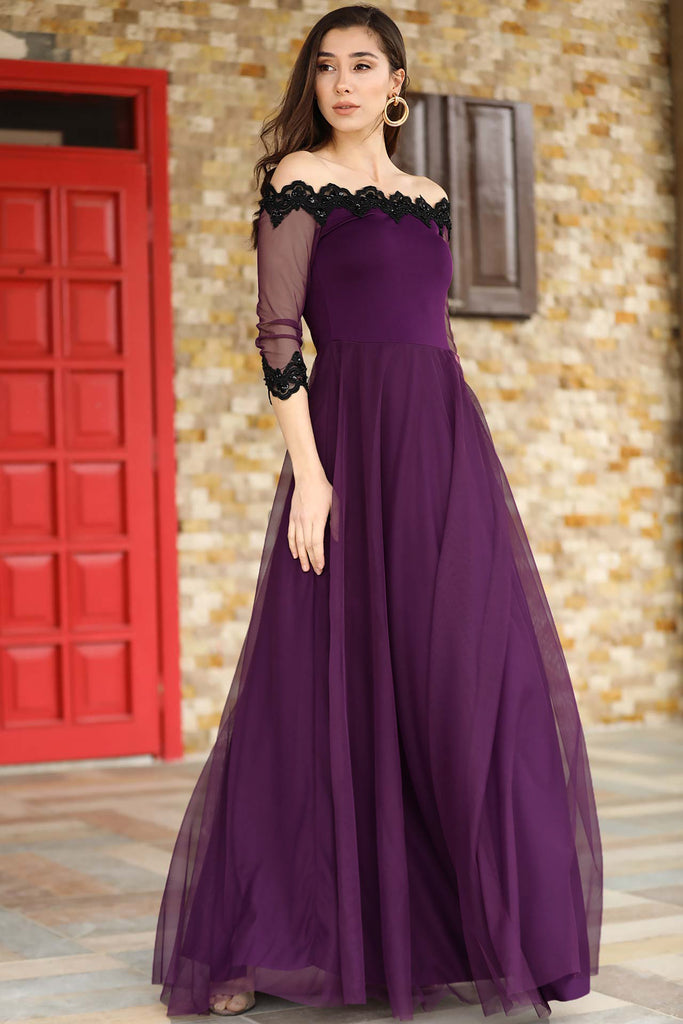 Women's Off Shoulders Tulle Detail Purple Evening Dress - Tala Dress Store