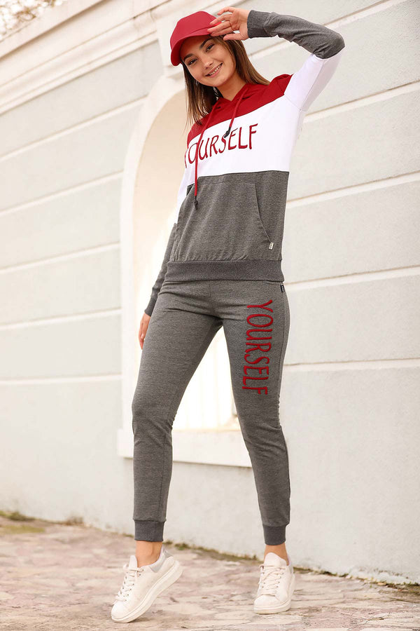 Women's Hooded Red Gray Sweat Suit - Tala Dress Store