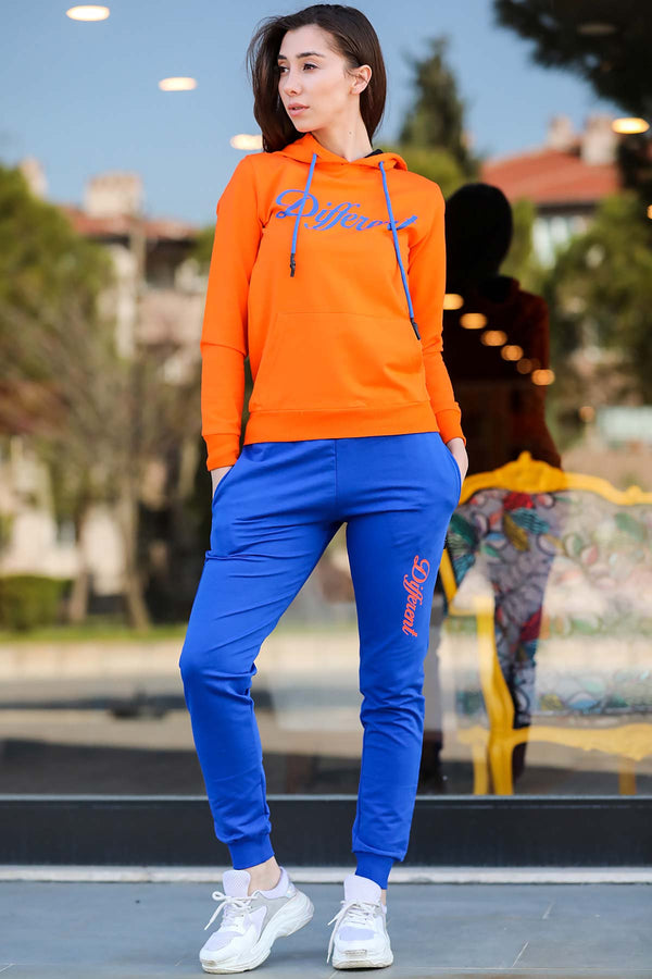 Women's Hooded Orange Sweat Suit - Tala Dress Store
