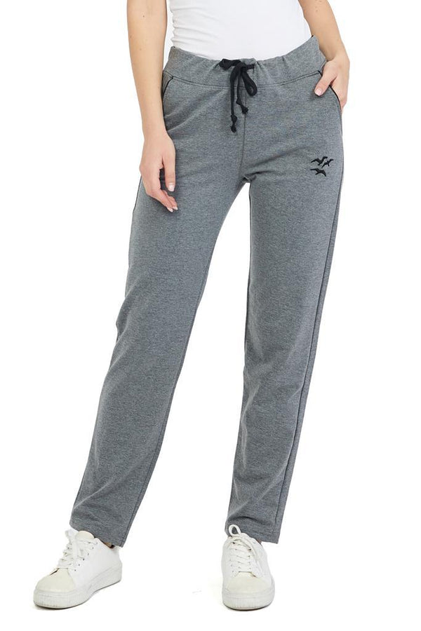 Women's Plain Grey Combed Cotton Sweatpants - Tasamimi Store