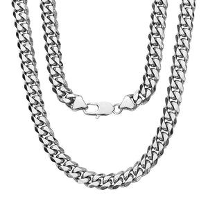9MM .925 Sterling Silver Miami Cuban Link Chain