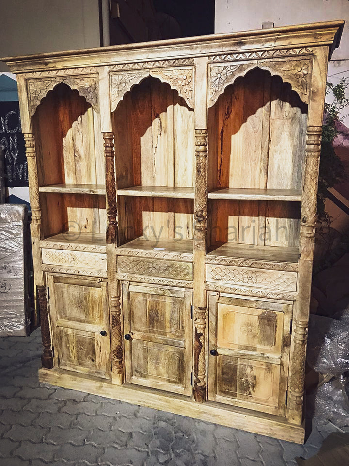 Carved Triple Mehrab Bookshelf with drawers and cabinet.   lucky-furniture-handicrafts.