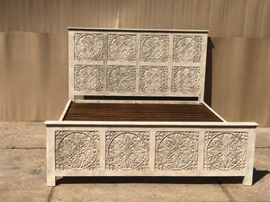 Flower Carved Bed Panels  simple lucky-furniture-handicrafts