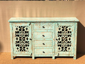 Distressed Blue Sideboard  simple lucky-furniture-handicrafts.